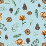 Watercolor background pattern with vintage flowers and twigs. Seamless background pattern with twigs, flowers and fir cones. Watercolor hand drawn illustration Royalty Free Stock Photography