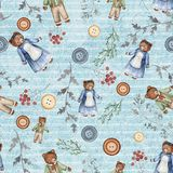 Watercolor background pattern with vintage subjects