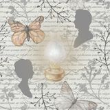 Watercolor background pattern with vintage subjects. Seamless background pattern with kerosene lamp, butterflies, twigs and silhouettes. Watercolor hand drawn Royalty Free Stock Image