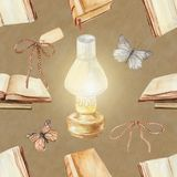 Watercolor background pattern with vintage subjects. Seamless background pattern with kerosene lamp, butterflies and books. Watercolor hand drawn illustration Royalty Free Stock Image
