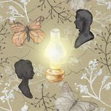 Watercolor background pattern with vintage subjects. Seamless background pattern with kerosene lamp, butterflies, twigs and silhouettes. Watercolor hand drawn Stock Photo