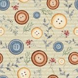 Watercolor Background Pattern With Buttons And Flowers Royalty Free Stock Photography