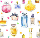 Watercolor background with perfumes. Watercolor seamless pattern with perfumes stock illustration