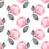 Watercolor background with pink flowers royalty free illustration