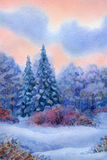 Watercolor background with quiet sunset over winter forest Stock Photography