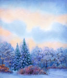 Watercolor background with quiet sunset over winter forest vector illustration