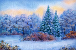 Watercolor background with quiet sunset over winter forest. Beautiful handwork watercolor backdrop with space for text. Quiet winter sunset. Lush high blue Royalty Free Stock Photography