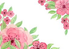 Watercolor background with roses and leaves. Paint flowers for greeting card. Hand drawn plants. Greeting card with watercolor r. Oses. Template with flowers for stock photo