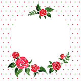 Watercolor background -- round frame of roses Royalty Free Stock Photos