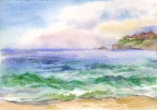 Watercolor background with sea waves Royalty Free Stock Photography