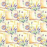 Watercolor background. Seamless pattern. Flowers Pansies, lavender , botany and books. White background.