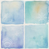 Watercolor background. Set of blue watercolor backgrounds Stock Images