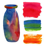 Watercolor background set. Painting abstract backdrops and bottle print. Stock Image