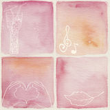 Watercolor background. Set of pink watercolor backgrounds Royalty Free Stock Photos