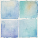 Watercolor background. Set of square watercolor backgrounds in blue color Stock Images