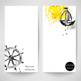 Watercolor background with the ship, the sun and the steering wheel. Vector banner Royalty Free Illustration