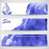 Watercolor background with the ship. Vector Stock Illustration