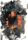 Watercolor background similar to a volcanic eruption, a flash of light, fire vector illustration