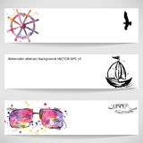 Watercolor background with a steering wheel, sunglasses, a bird. Vector banners Royalty Free Stock Photos