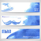 Watercolor background with stylish men's hat and mustache. Vector Royalty Free Illustration