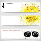 Watercolor background with sun, sunglasses, and a bird. Summer. Vector Vector Illustration