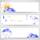 Watercolor background with sun umbrella, cloud and rain. Vector Stock Photo