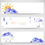 Watercolor background with sun umbrella, cloud and rain. Vector Stock Illustration