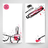 Watercolor background with sunglasses, nail polish and mascara. Vector illustration Stock Illustration