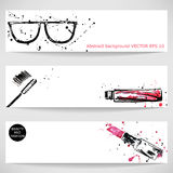 Watercolor background with sunglasses, red lipstick and mascara. Vector Stock Illustration