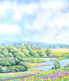 Watercolor background. Sunny summer day in green valley. Watercolor landscape background. Sunny summer day on the river in a lush green valley Royalty Free Stock Photos