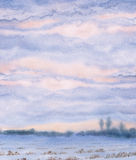 Watercolor background. Sunset over the winter steppe Royalty Free Stock Image
