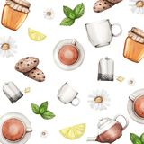 Watercolor background with tea set, honey, mint and cooki. Watercolor background with tea set, honey, mint, lemon and cookies royalty free illustration