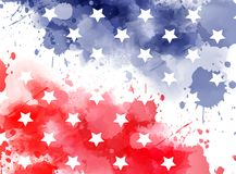 Watercolor background in USA flag colors with stars Stock Images