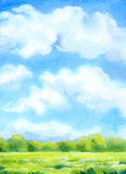 Watercolor background with white clouds on blue sky over sunlit. Colorful watercolor cheerful background with space for text. Bright blue sky with white cumulus Royalty Free Stock Images