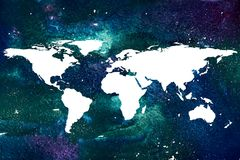 Watercolor background with white world map. 2d hand drawn watercolor background with white world map. Conceptual illustration of universe, galaxy, stars Stock Images