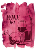 Watercolor background with wine glasses and bottle Royalty Free Stock Images