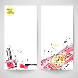 Watercolor background with wristwatches and nail polish. Fashion Royalty Free Illustration