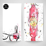 Watercolor background with wristwatches, nail polish and sunglasses. Beauty and Fashion Vector Illustration