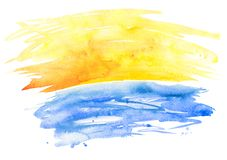 Watercolor background with yellow and blue splashes Royalty Free Stock Image
