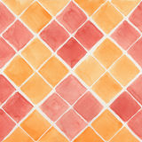 Watercolor background. Watercolor yellow and red rhombus background Stock Photo