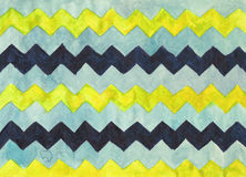 Watercolor background with zigzag stripes Stock Photography