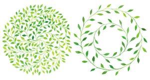 Watercolor circle laurel leaves emblem, wreath of leaves set. Royalty Free Stock Photo