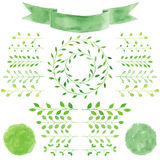 Watercolor badges, leaves, circle green wreath, ribbon, emblem  Royalty Free Stock Photo