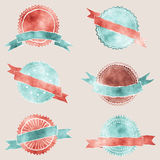 Watercolor badges with ribbons Royalty Free Stock Photos