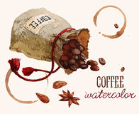Watercolor bag with coffee beans Stock Photography