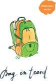 Watercolor bag in travel Royalty Free Stock Image
