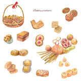 Watercolor bakery products. Set of sweet cakes, cookie, bread an. D other. Hand drawn illustrations isolated on white vector illustration