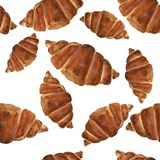 watercolor Bakery seamless pattern. Hand drawn vector illustration Croissant vector illustration