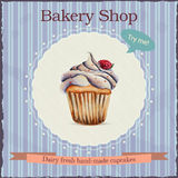 Watercolor bakery shop advertisement with cupcake. Watercolor bakery shop advertisement template with cupcake illustration and typographic Royalty Free Stock Images