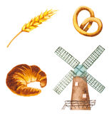 Watercolor bakery symbols. windmill, croissant, wheat Royalty Free Stock Photography